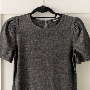 Express top black with metallic shimmer